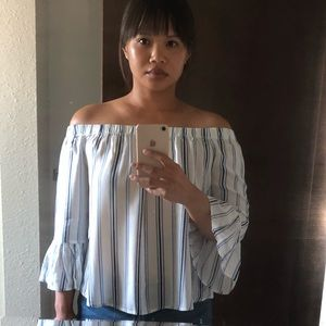 Tops - NWOT Breezy Striped Off The Shoulder Blouse